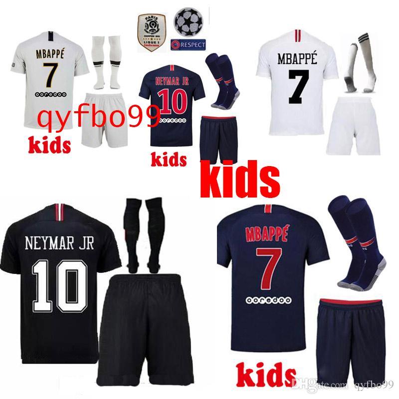 84411e38642d7 Compre PSG Camiseta De Fútbol Kit Infantil 2019 París Fuera Tercero MBAPPE  CAVANI DI MARIA VERRATTI Camisetas De Saint Germain 18 19 Camiseta De  Fútbol ...