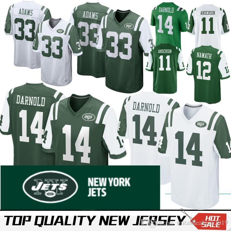new style 8f3eb f9100 New 14 Sam Darnold York 11 Robby Anderson Jets jersey 33 Jamal Adams 12 Joe  Namath Stitched Embroidery Logos