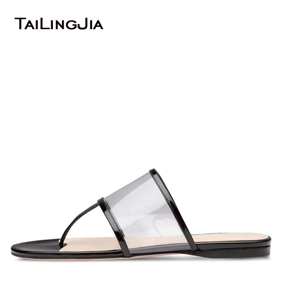891c50a2d0e1 Transparent PVC Flat Slippers Women Slide Thong Sandals Flip Flops Summer  Casual Shoes Ladies Clear Slides Large Size 2018 Purple Shoes Ladies  Footwear From ...