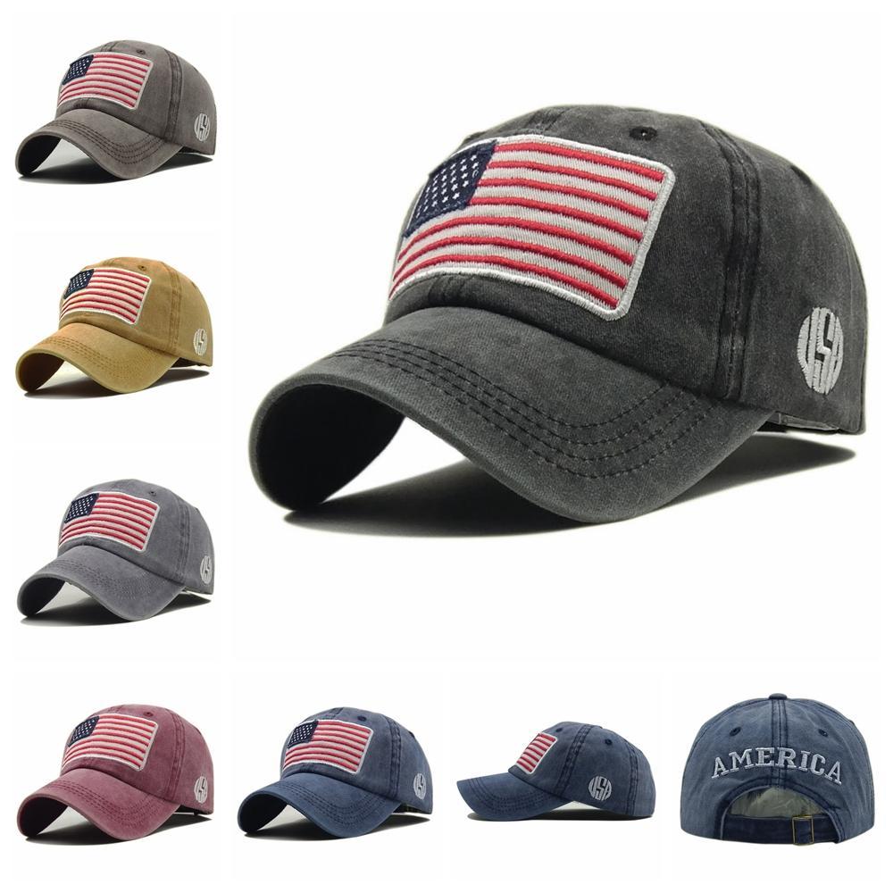 d62213c312070f Washed Cotton Baseball Cap Men Women Embroidery USA Flag Snapback ...