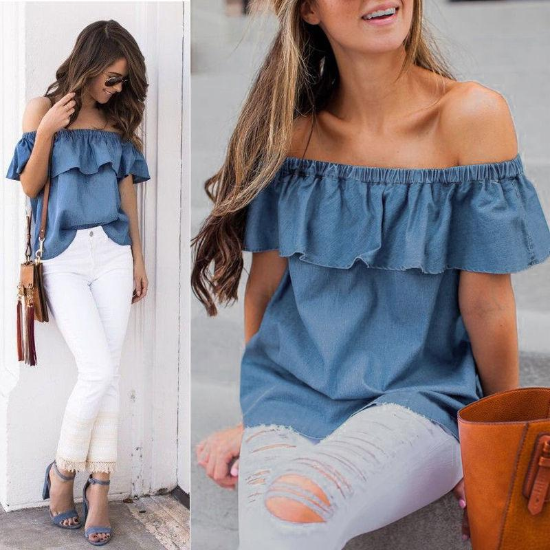 Designer Shirt Womens Clothing New Fashion Women Vintage Off Shoulder Tops T Shirts Summer Casual Cats Denim Short Mouthing Clothing