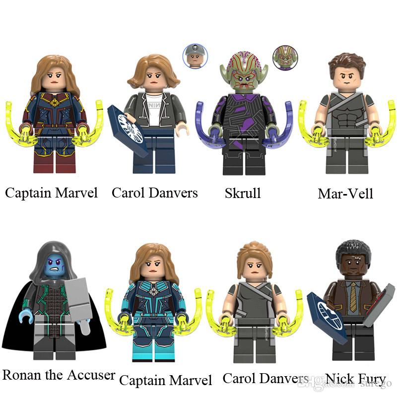 Avengers 4 Endgame Captain Marvel Carol Danvers Skrull Mar-Vell Ronan the Accuser Nick Fury Mini Toy Figure Building Block Assebmle Block