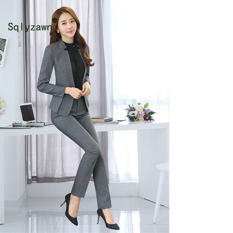 Blazer Formelle Büro Arbeitshose Jacken Hosenanzüge Büroanzüge Designs Damen Business Und Uniform Schwarz Set PkXuiOZ