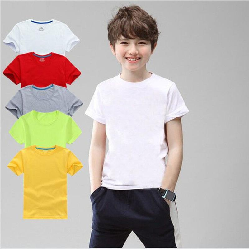 100% Cotton Children T-shirt Kids Tshirt 3-12t Boys Girls Black White Red Gray Yellow Tops 5 Colors Xs-3xl For Diy