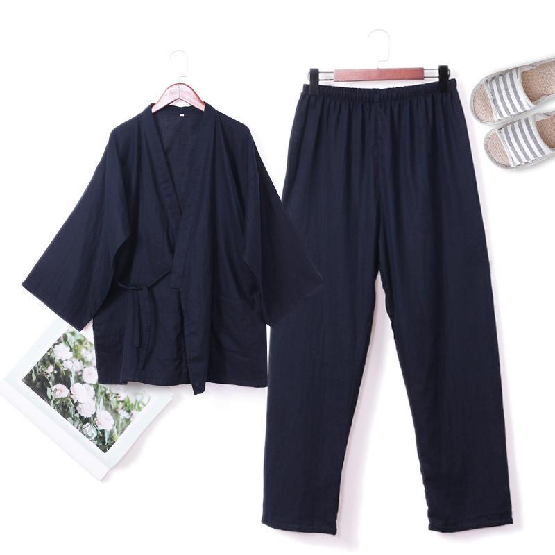 QWEEK Spring 100% Cotton Male Pajamas Sets Pyjamas Men Kimono Mens ... 437724824