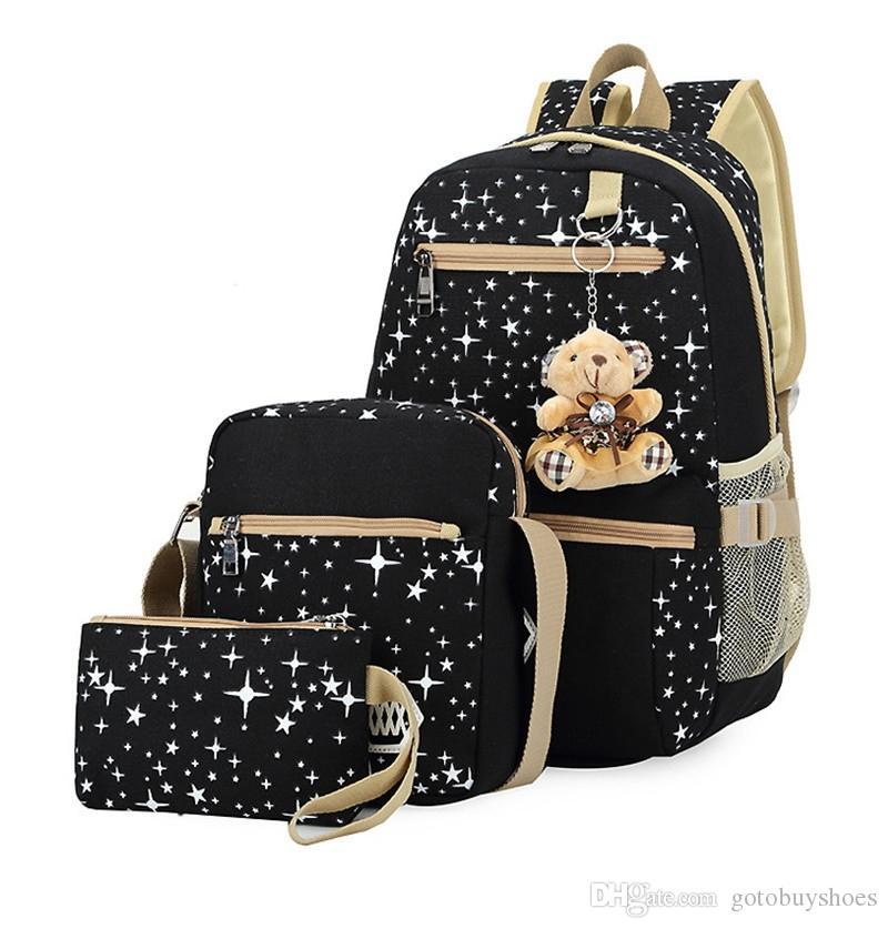 d23f32728 Compre 3 Unids / Set Mujeres Mochila Mochilas Escolares Impresión De La  Estrella Mochilas Lindas Con Oso Para Adolescentes Niñas Bolsa De Viaje  Mochila ...