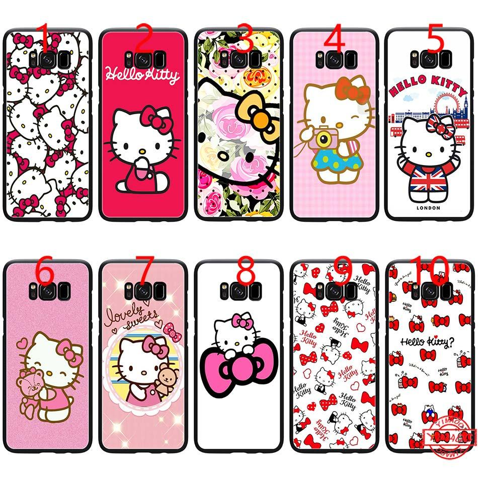 8267fb0cce477 Fashionable Hello Kitty Soft Black TPU Phone Case For Samsung Note 9 8 S8  S9 Plus S6 S7 Edge Cover Cell Phone Cases And Covers Cell Phone Leather  Cases From ...