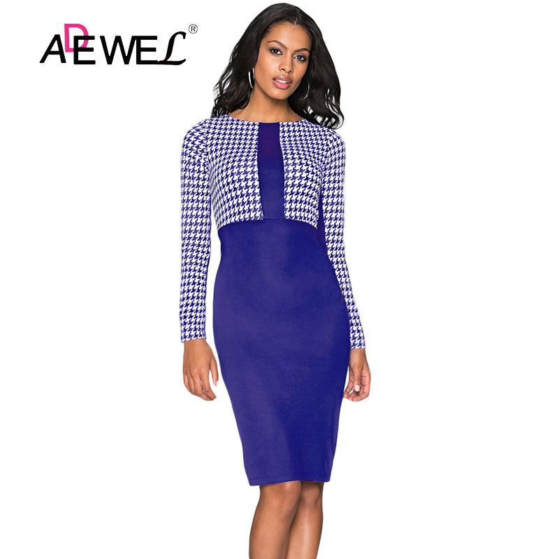 1532d5b73163 SEBOWEL Casual Formal Long Sleeve Office Pencil Midi Dress Women ...
