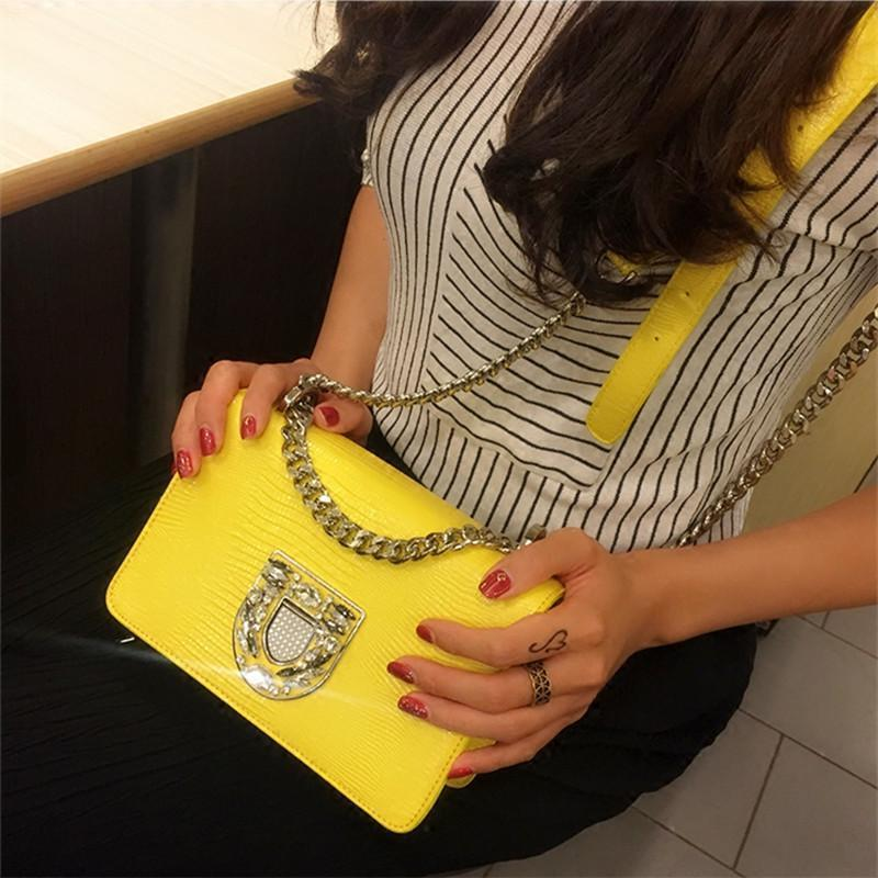 cc577a3dced Nice Fashion Women Yellow Handbags Genuine Leather Diamonds Chains Hand Bag  Flap Shoulder Messenger Crossbody Cow Leather Bags