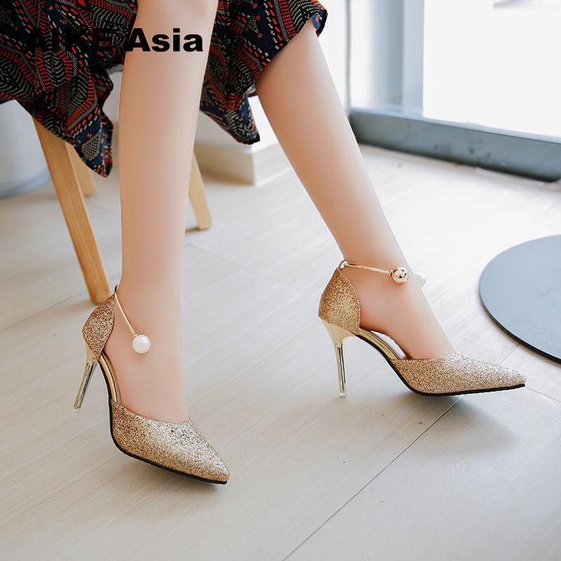 d4661c613a9 2019 Summer Women Pumps Sexy Black Gold Silver High Heels Shoes Fashion  Luxury Rhinestone Wedding Party String Bead  006 Blue Shoes Shoe Boots From  Deals000 ...