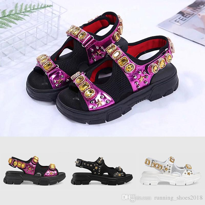 85c0b3cac5e Leather And Mesh Sandal With Crystals 2019 Womens Luxury Designer Sandals  Triple Black White Lady Summer Outdoor Flat Slipper Fashion Slide Platform  Sandals ...