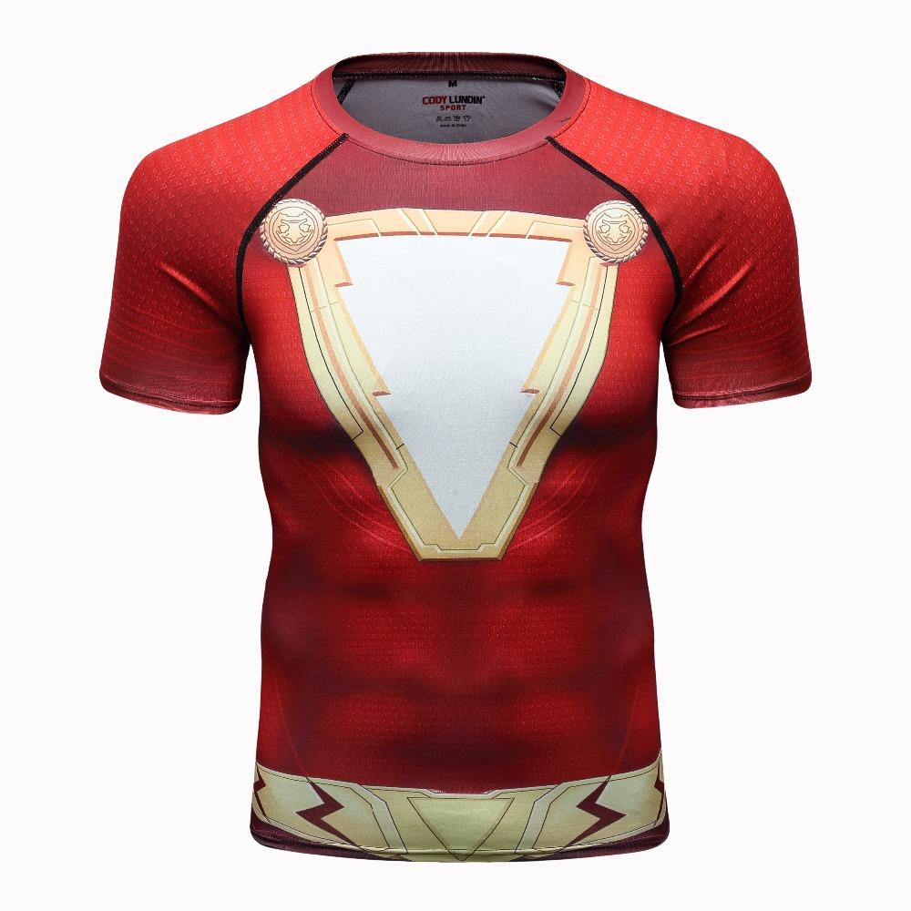 5b30839b21 Flash Shazam 3D Printed T Shirts Men Compression Shirts Raglan Sleeve 2019  Latest Short Sleeve Comics Cosplay Costume Cloth Tops Trendy T Shirts For  Men ...