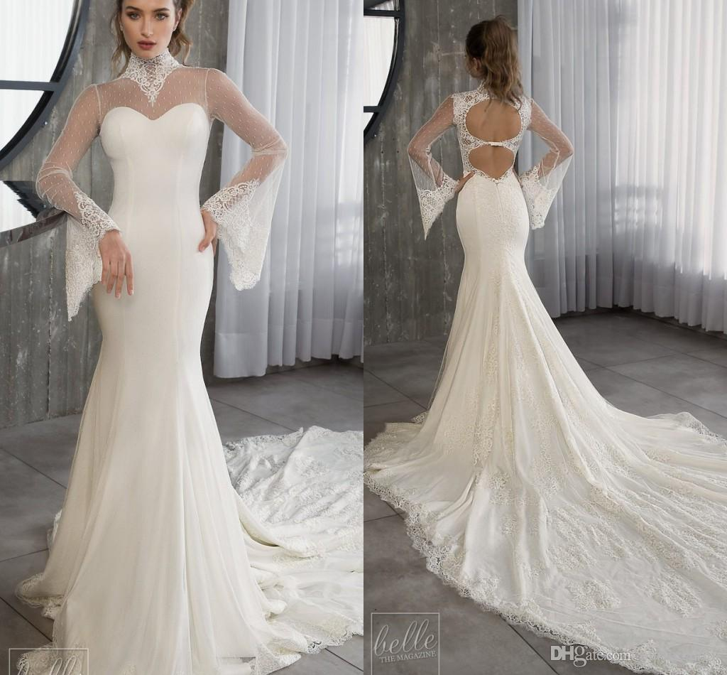 54804d3f97e 2019 Riki Dalal Elegant High Neck Wedding Dresses Backless Long Sleeve  Sheath Point Lace Chiffon Court Train Beach Bridal Gown Wedding Dress  Vintage Lace ...