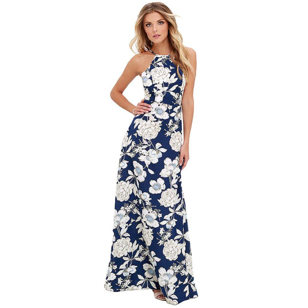 2018 Summer Maxi Long Dress Women Halter Neck Vintage Floral Print ... 91a91974a11f