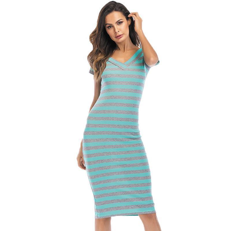 0081f3002af0 Sexy Women Stripe Dress V Neck Short Sleeve Casual Slim Fit Pencil Dress  2019 Summer Beach Bandage Bodycon Party Midi Dresses White Dresses For  Teenagers ...