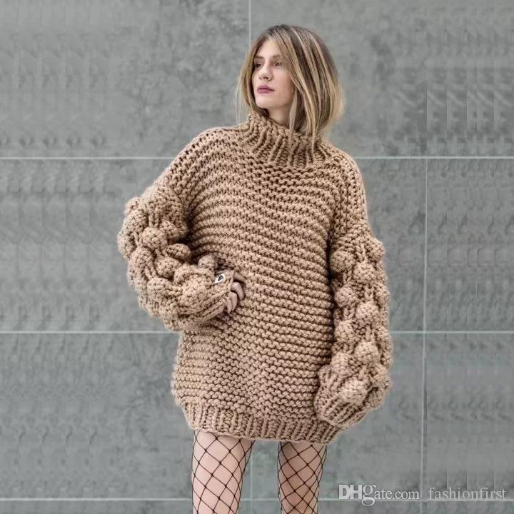 4e85bbf18a6f73 Bubble Sleeve Sweater Pullover One Size Chunky Crocheted Knitted ...