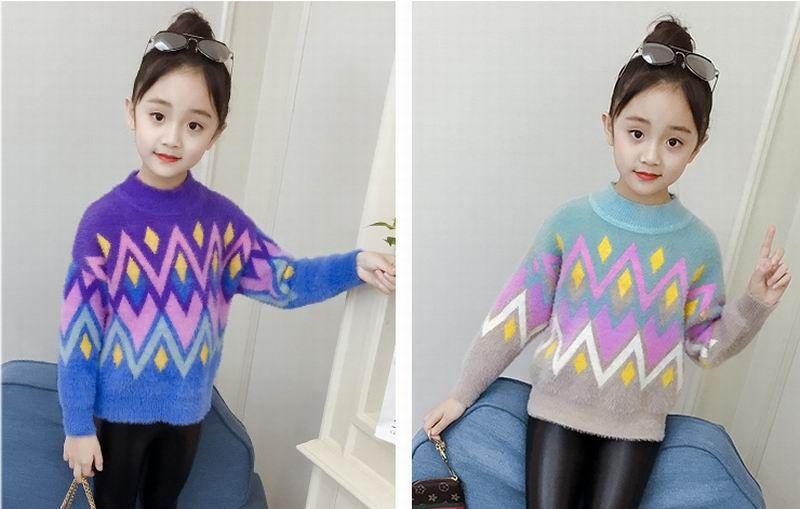 купить оптом девушка осень зима волна свитер мода теплый свитер
