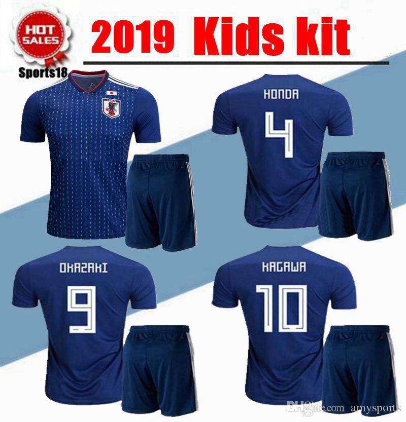 bd7233fb1 2019 Kids Kit 2019 World Cup Japan Home Blue Soccer Jersey OKAZAKI ...