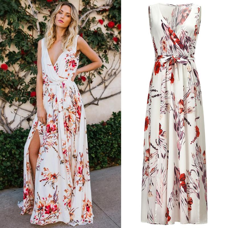 7c4e093d9d Boho Floral Maxi Long Dress 2019 Fashion Womens Ladies Long Sleeve V Neck  Collect Waist Evening Party Summer Chiffon Dresses
