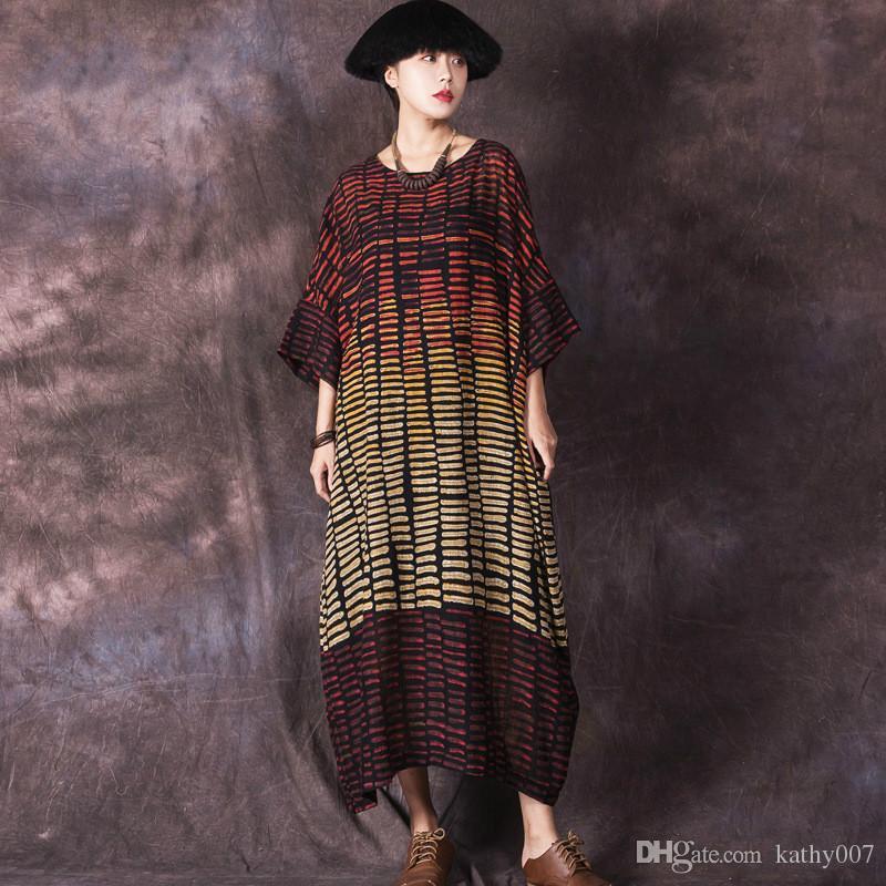 72e7bff1c68 Plus Size 2019 Casual Womens Striped Cotton Linen Maxi Dress Printed Spring  Summer Long Dress Kaftan Gown Loose Baggy Vestidos Robe Femme Boutique  Dresses ...