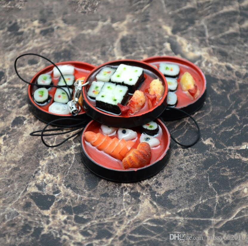 4 pcs/set Japanese Style Cell Phone Straps Simulation Round Lunch Box Sushi Box Model Key Chain Bag Cell Phone Jewelry Charms