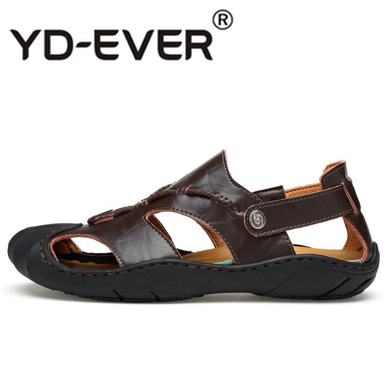 d6059a1e4 Men Sandals Genuine Leather Handmade Sandals Casual Beach Summer Shoes For  Outdoor Anti Skid Footwear Men Flats Shoes For Women Nude Wedges From  Potatoo
