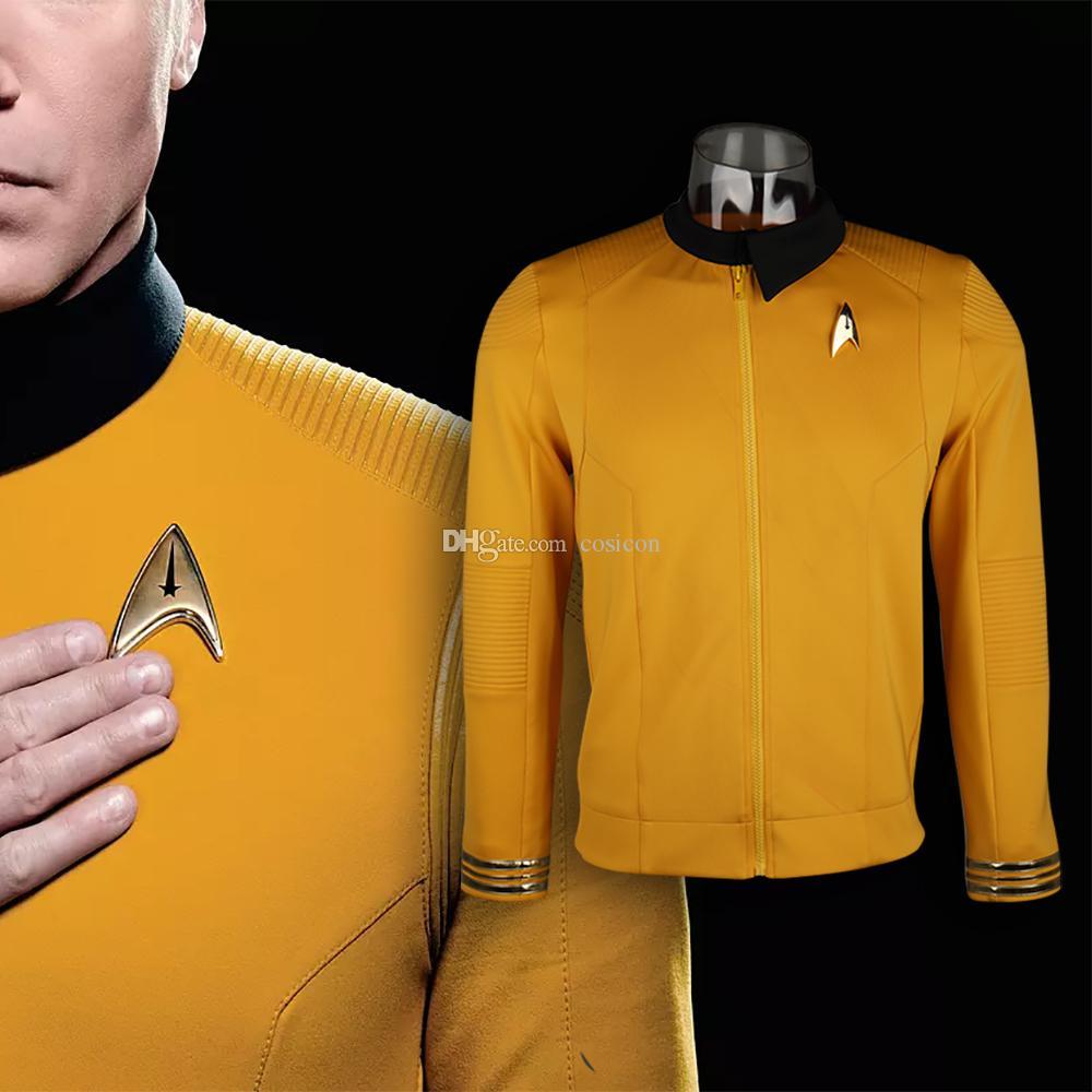 d0d92aefa41 Звездный путь Discovery Season 2 Звездный Флот Капитан Кирк Рубашка  Равномерное Значок Костюмы Мужчины Взрослый Хэллоуин Косплей Костюм