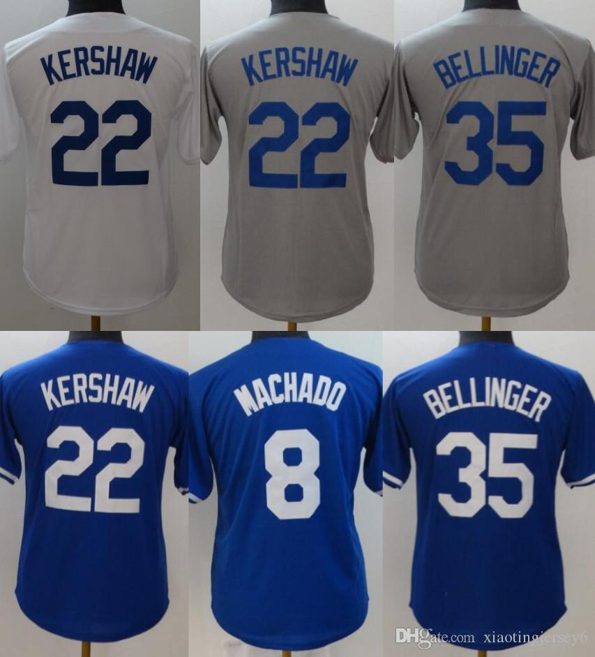 2019 Youth 22 Clayton Kershaw Jersey 21 Walker Buehler 35 Cody Bellinger 14  Enrique Hernandez 8 Manny Machado Kids Baseball Jerseys White Blue From ... 4a3879039cc