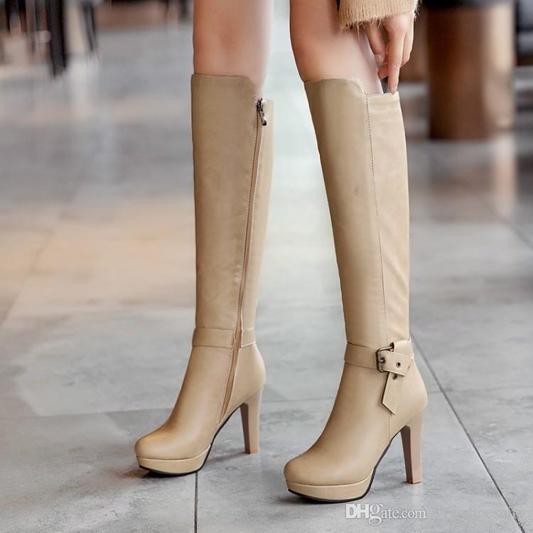 Plus size 34 to 40 41 42 43 sexy platform high heel knee high boots female luxury winter designer boots