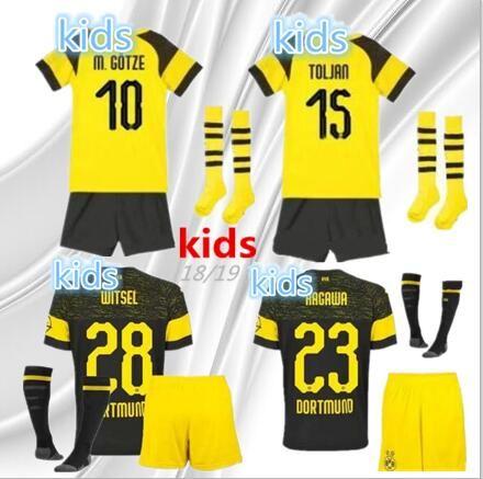 Compre 2018 2019 Kit Infantil Borussia Dortmund Uniforme De Camiseta De  Fútbol Local 18 19 REUS PULISIC M.GOTZE WITSEL Dortmund Niño De Distancia  Camisetas ... f69833fc5f37e