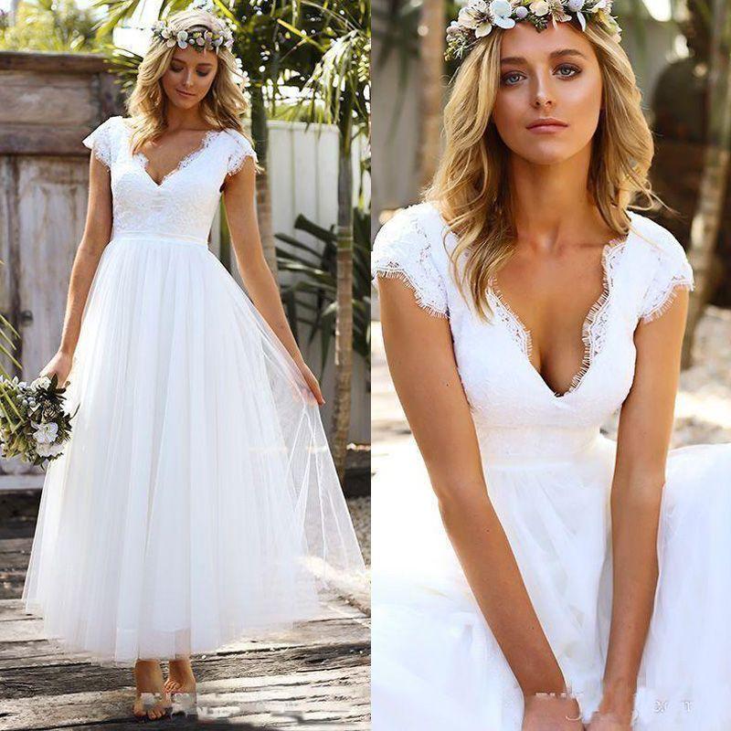 Vintage 1950s\' Tea Length Short Wedding Dresses Lace Tulle Modest Cap  Sleeve V-neck Bohemian Beach Garden Bridal Gowns 2019 vestido de novia
