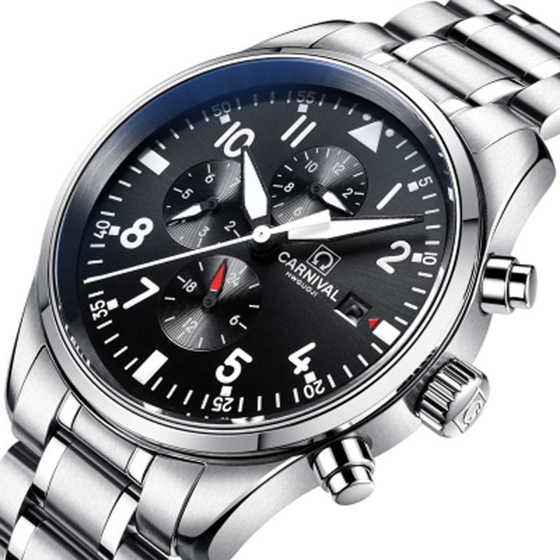 93782696f98 Compre Suíça CARNAVAL Relógios Homens Multi Função Auto Relógio De Luxo Da Marca  Relogio Masculino Relógios De Pulso Dos Homens À Prova D  Água C8592 1 De  ...