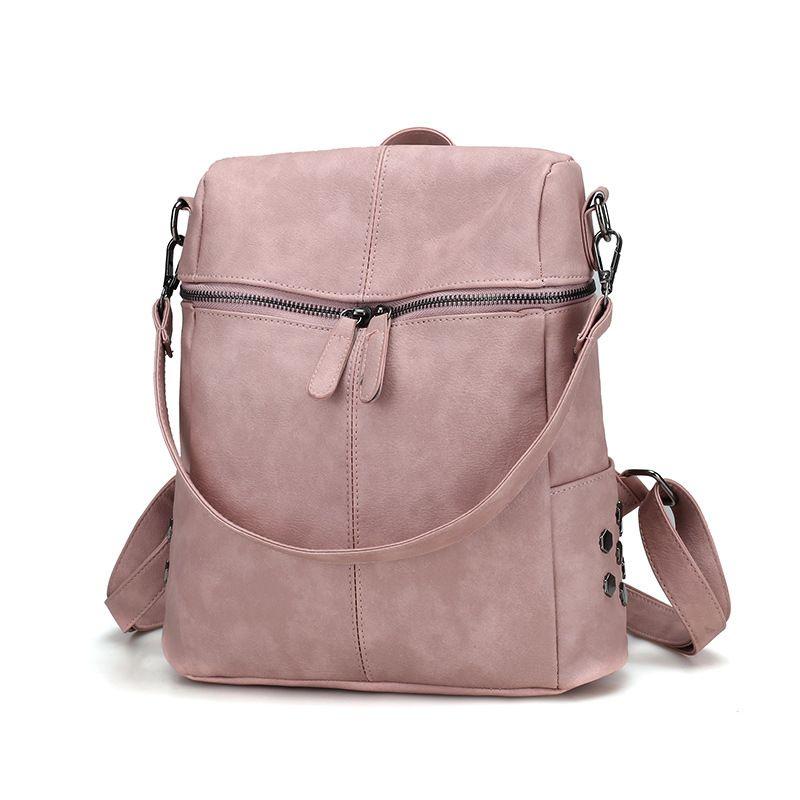 1002b2cfd80f Simple Style Backpacks Women PU Leather Backpack For Teenage Girls School  Bags Fashion Vintage Solid Black Shoulder Bags School Bags HBKB007 Laptop  Backpack ...