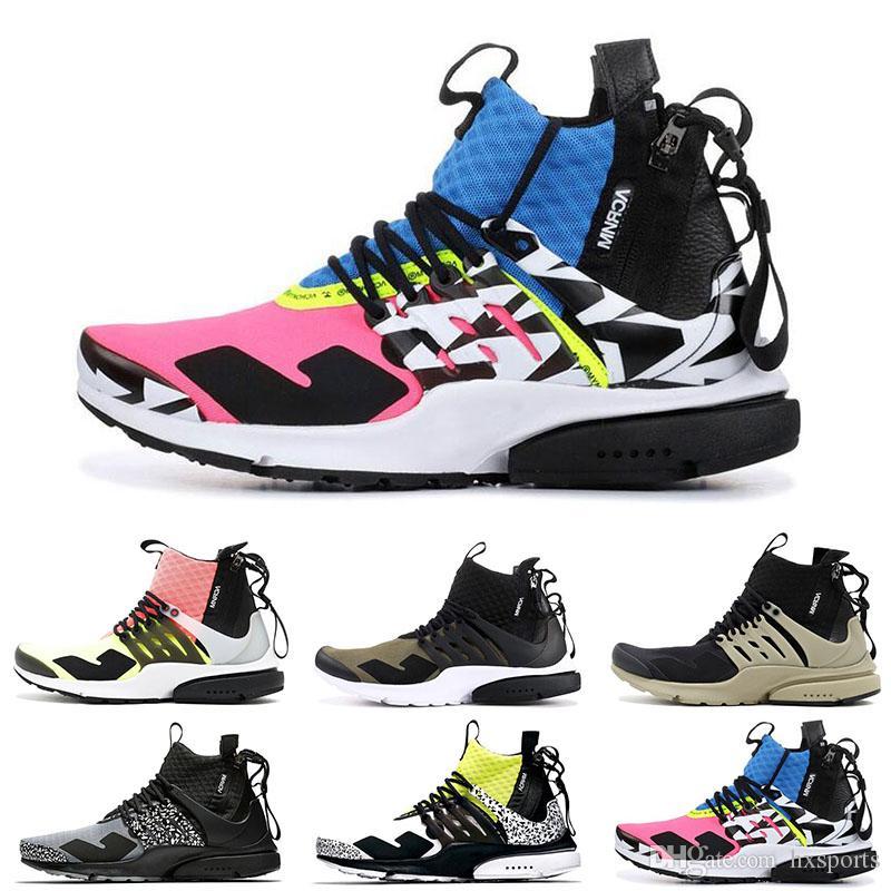 buy popular 63faa 9324a Großhandel Hohe Qualität ACRONYM X Air Presto Mid V2 Laufschuhe Herren Gelb  Schwarz Weiß Darts Street Sneakers Womens Camouflage Graffiti Stiefel 36 45  Von ...