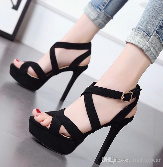 Seksi Bayanlar Yüksek topuk Siyah strappy Çapraz Kayış Gladyatör Sandalet Kutu Boyutu 34 39 To Come With