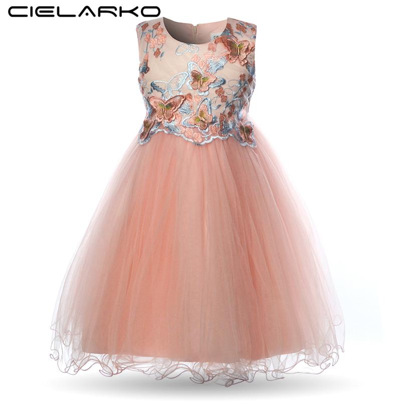 Cielarko Girls Dress Butterfly Kids Flower Dresses Birthday Tulle Children Wedding Party Frocks Formal Baby Ball Gown For Girl J190505