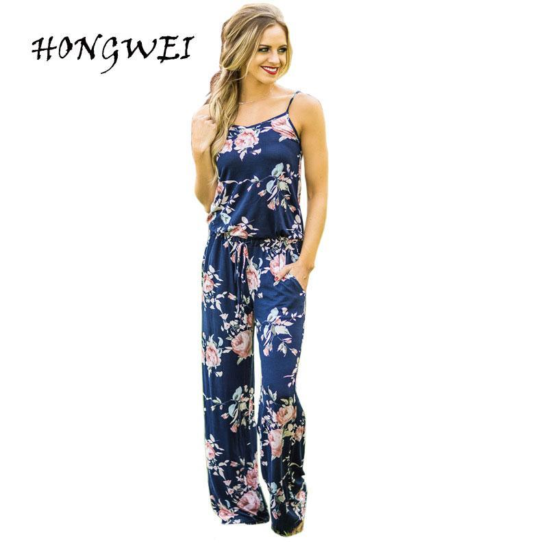 063daf244ae4 New Kawaii Floral Jumpsuit Trendy Women Spaghetti Strap Long Jumpsuits  Casual Beach Long Pants Playsuits Overalls Pockets Online with  31.02 Piece  on ...