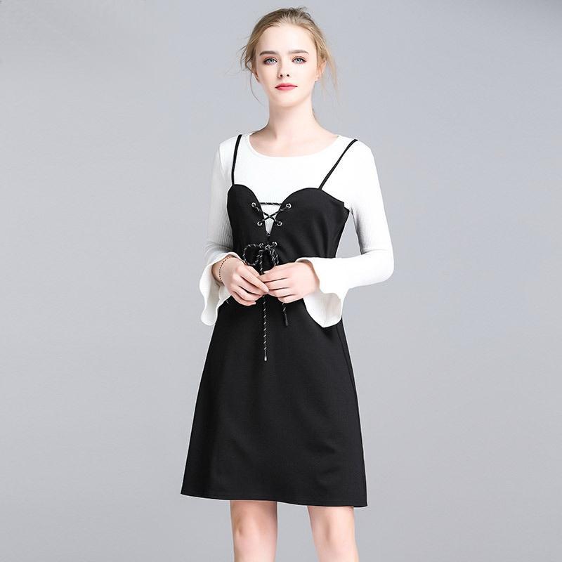 911d821ef6c9 Frauen zweiteilige Sets weiß langarmshirts schwarz spaghetti strap lace-up  dress elegante lässige street fashion clothing outfits