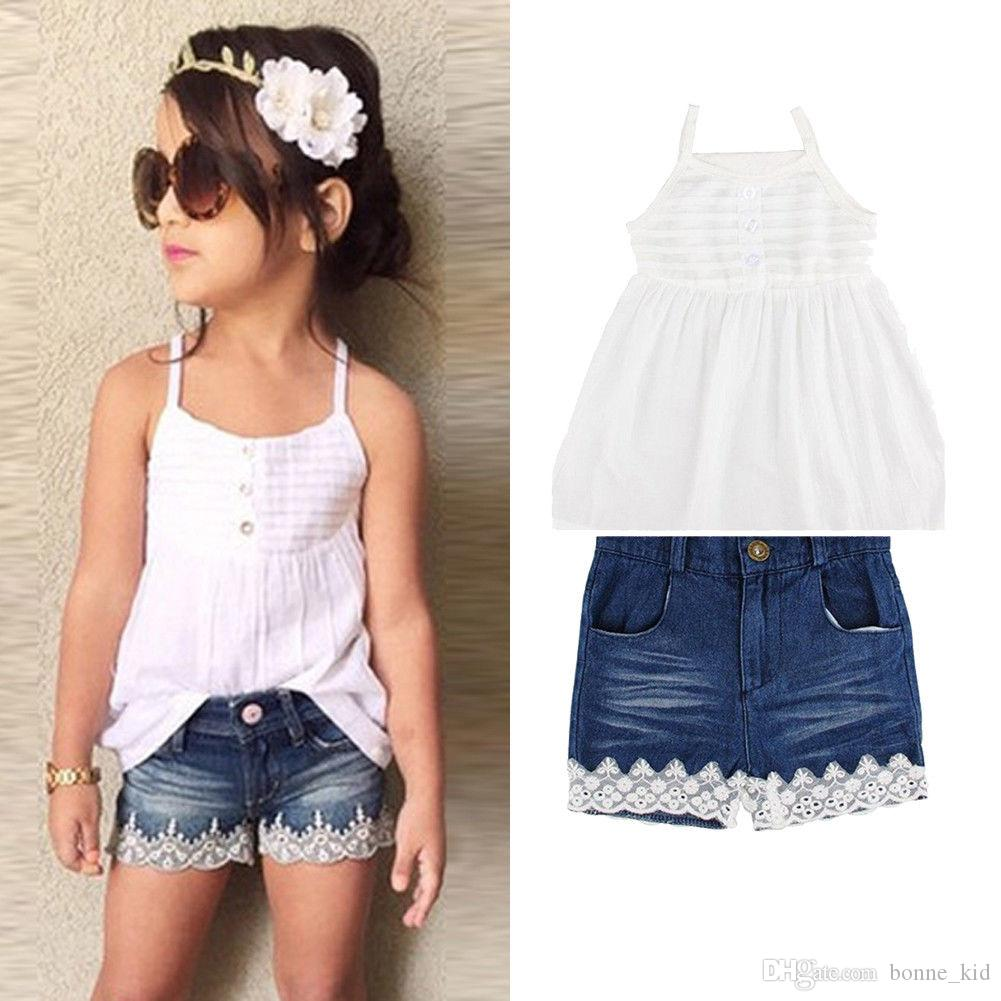 223ec6ea2670 2019 Summer Kids Girls Strap Vest Denim Lace Shorts Set Outfits ...