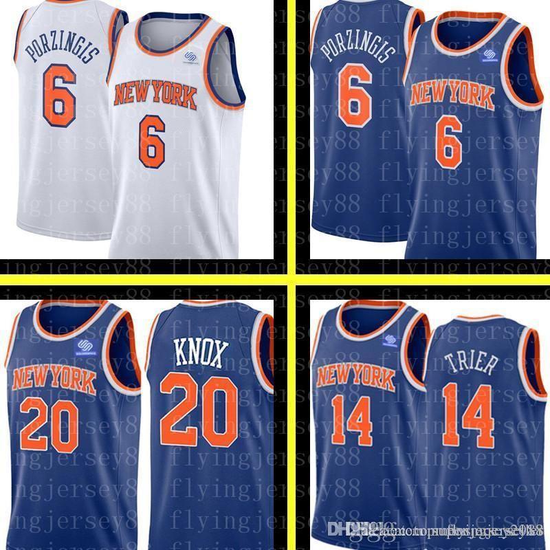 8ab6e55d955 2019 Knicks Kevin 20 Knox Allonzo 14 Trier Kristaps 6 Porzingis Jersey New  York Knick White Blue City Basketball Jerseys Embroidery Logos From ...