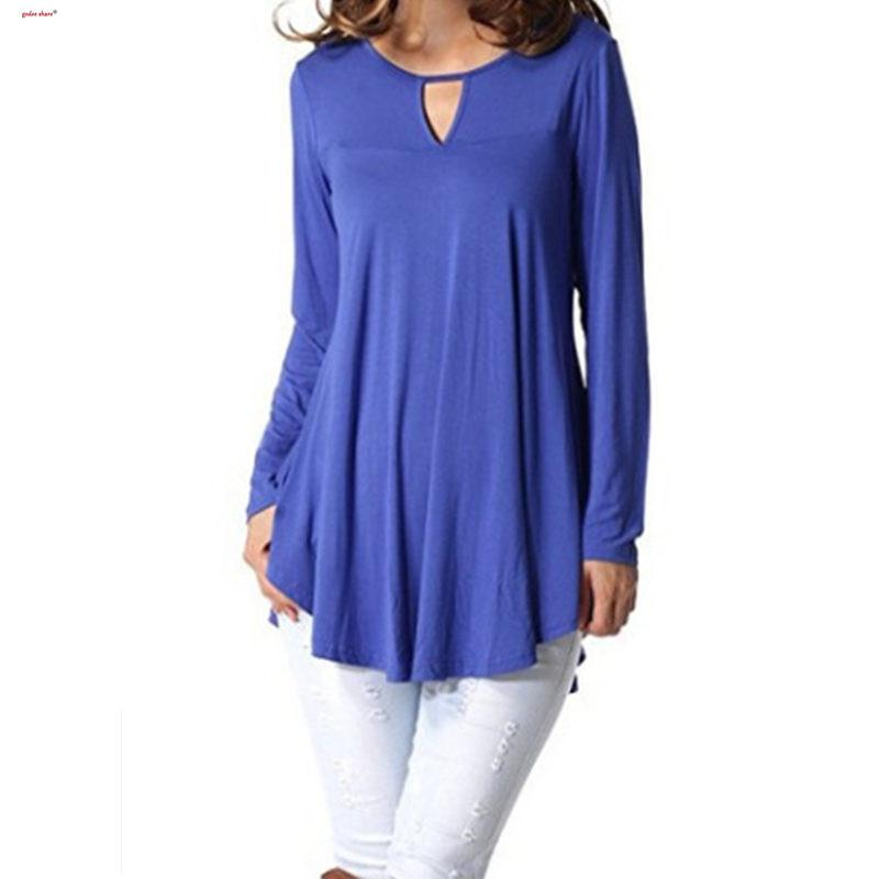 2019 Autumn T Shirt Women Full Sleeve Solid Spliced All-match Loose Top Long T-shirt Big Size Woman Clothes S-5XL