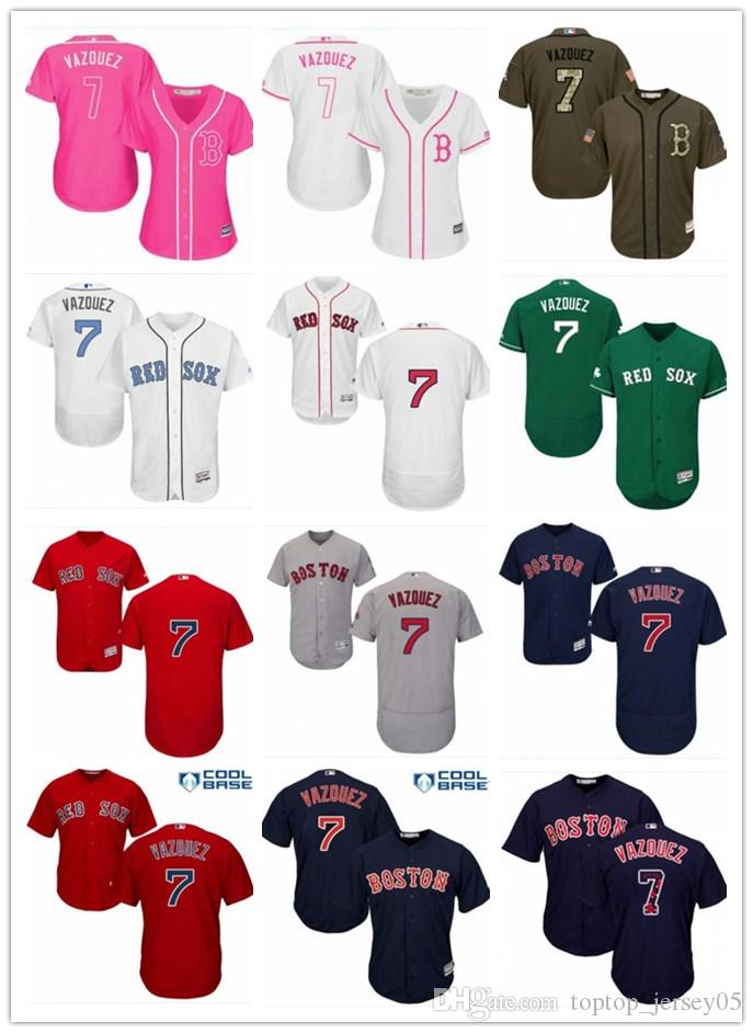 b3334e00a 2019 2018 Boston Red Sox Jerseys #7 Christian Vazquez Jerseys Men#WOMEN# YOUTH#Men'S Baseball Jersey Majestic Stitched Professional Sportswear From  ...
