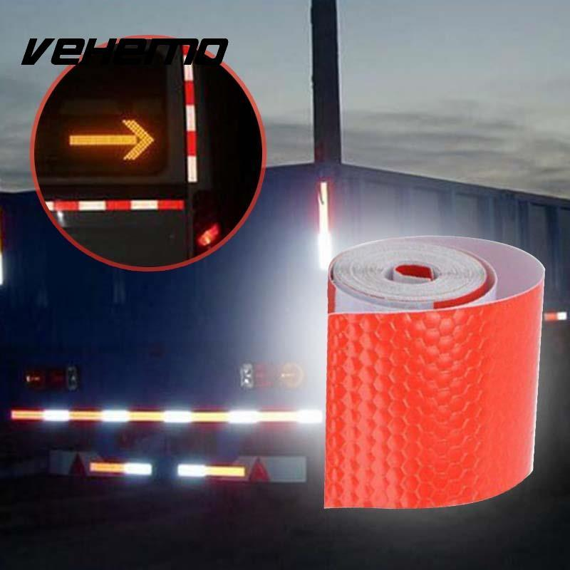 Vehemo 2017 5cm x 3m Decorative Red And White Reflective Tape Reflect Decal  Stickers