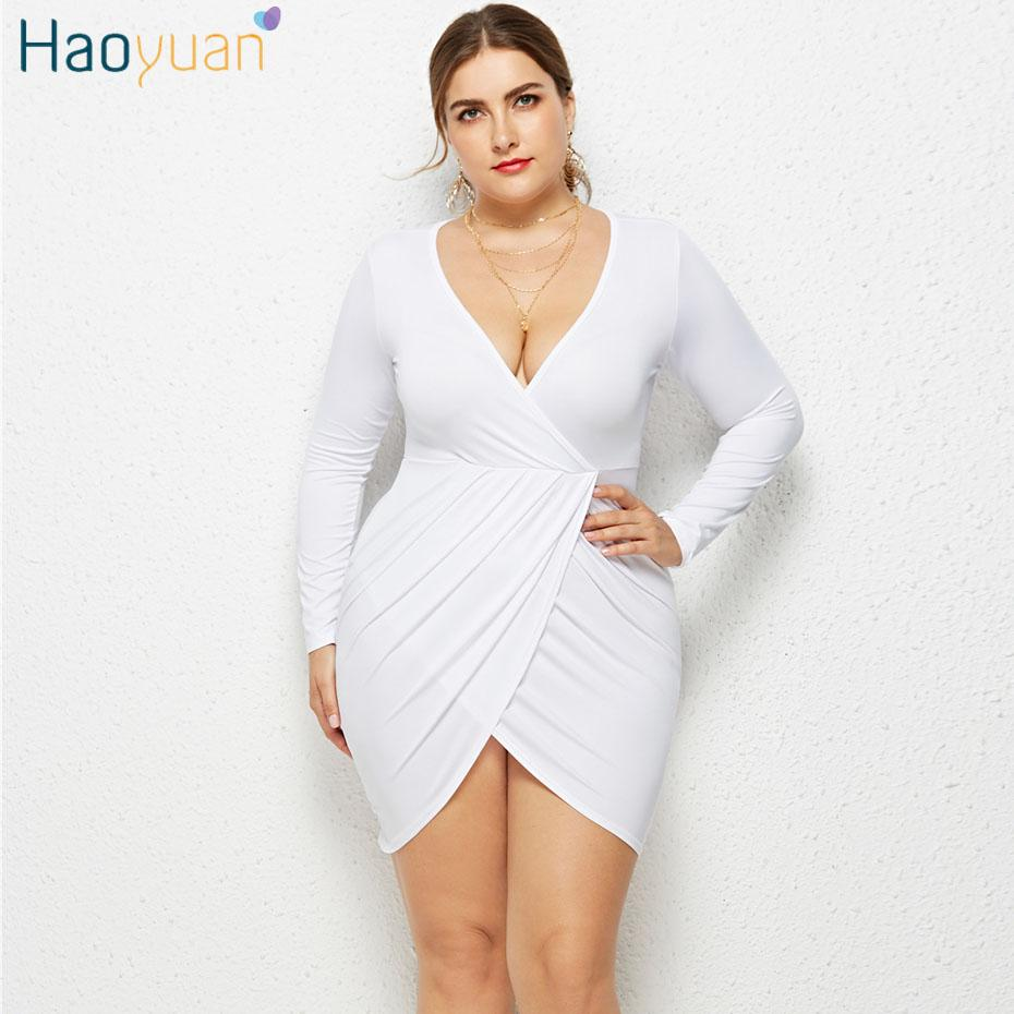 728da54fe1fdf HAOYUAN Plus Size Long Sleeve Bodycon Dress Women Robe Fall Sexy Club Party Dresses  Black White Red Big Size Elegant Tunic Dress Floral Cocktail Dresses ...