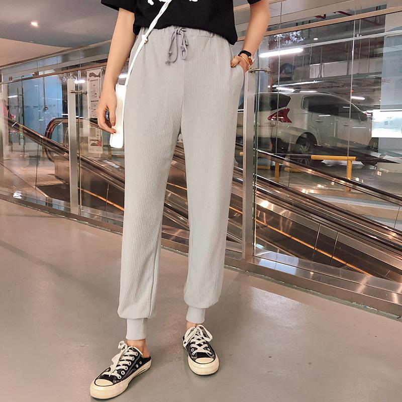 f5623245b 2019 2019 Summer Korean Version Of The New Knit Beam Mouth Casual Pants  Thin Section Loose Thin Simple Wild Long Pants Female From Recare, $20.23    DHgate.