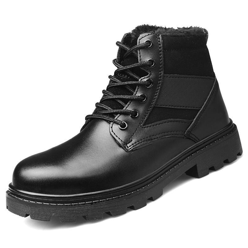 5fb3fd5c33d plus size mens fashion steel toe cap working safety cotton shoes warm plush  winter snow ankle boots building site security boot