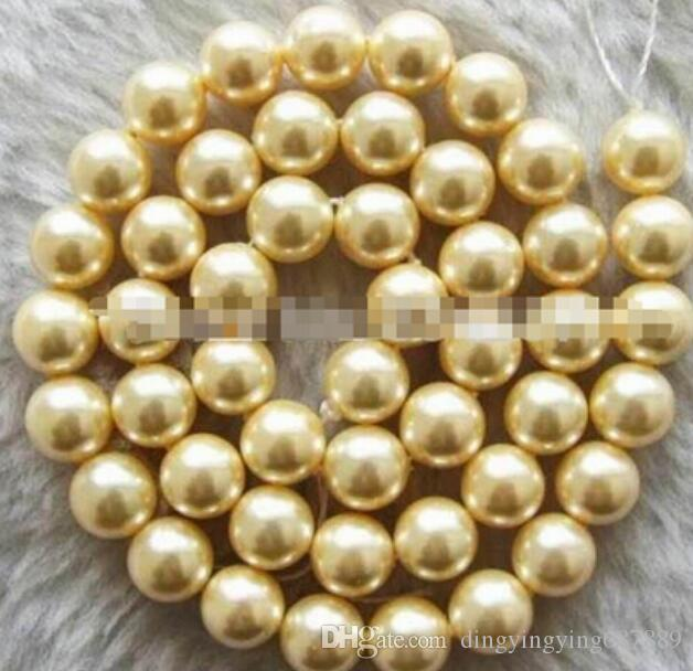 FREE SHIPPING + 15.5inchs 8mm Yellow Round Mother of Pearl Shell Beads