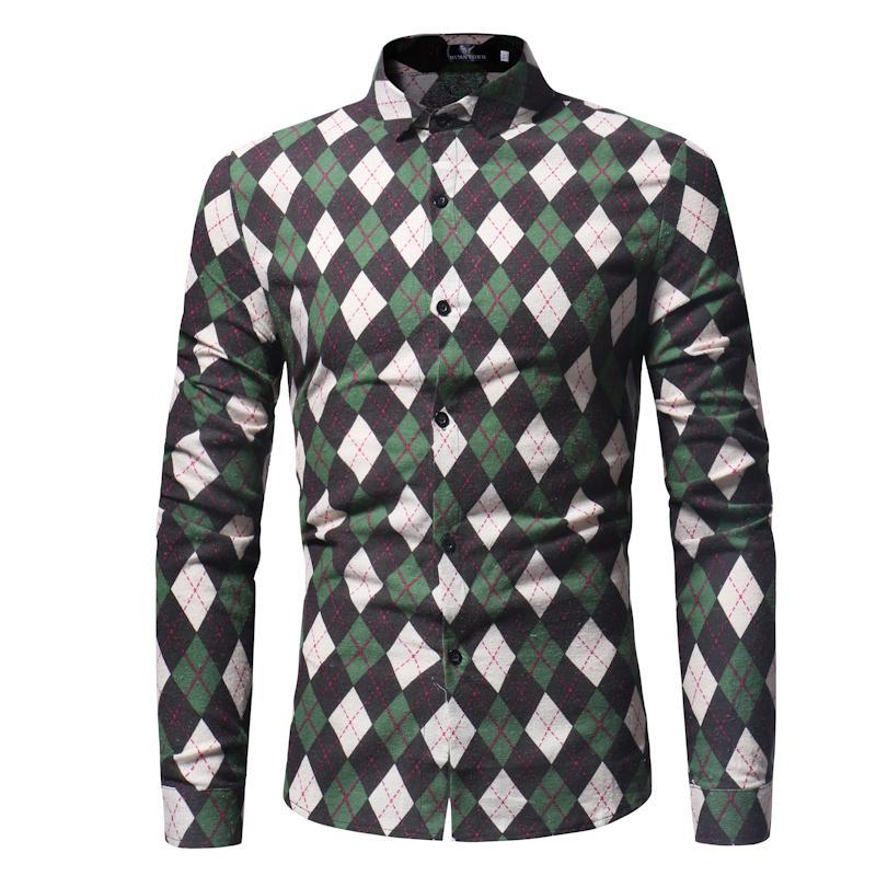 a881b5e451834 Satın Al Marka 2019 Moda Erkek Gömlek Uzun Kollu Eşkenar Dörtgen Blok  Kafesler Basit Desen Erkek Gömlekler Ince Erkekler Gömlek Tops Xxxl, $38.2  | DHgate.