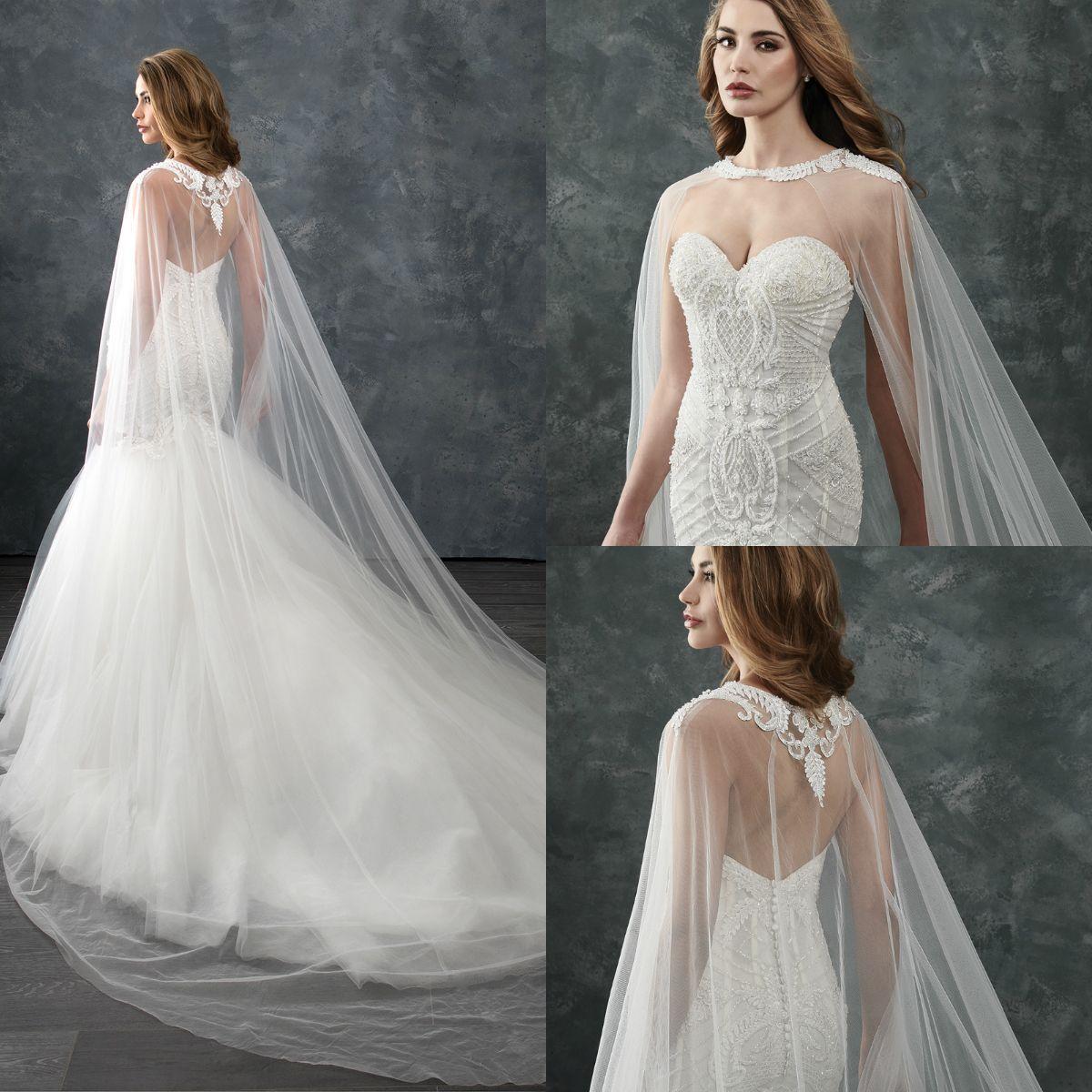 5248127962 Ivory Long Bridal Wraps Shawls Jewel Lace Applique Wedding Cloaks Jackets  Brides Boleros For Wedding Dresses Evening Party High Quality