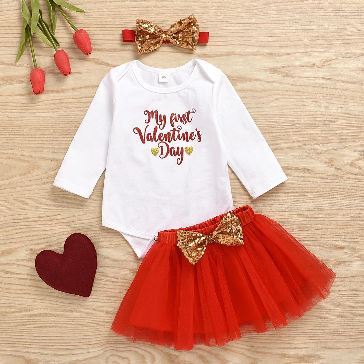 Bebé recién nacido arropa sistemas equipos del partido Letter Day Print Romper Encaje Faldas de San Valentín